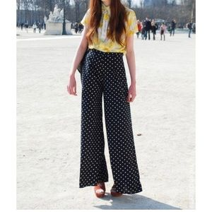Ralph Lauren polka dot print wide leg pants